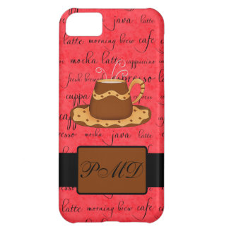 Brown Gold Coffee Cup on Red Script Monogram iPhone 5C Case