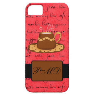 Brown Gold Coffee Cup on Red Script Monogram iPhone SE/5/5s Case