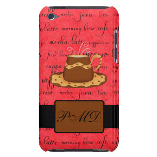Brown Gold Coffee Cup on Red Script Monogram iPod Touch Cover