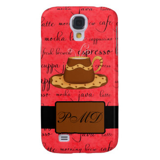 Brown Gold Coffee Cup on Red Script Monogram Samsung S4 Case