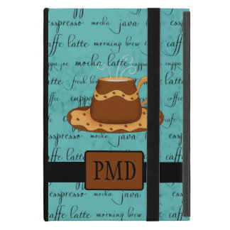 Brown Gold Coffee Cup on Turquoise Script Monogram Cover For iPad Mini