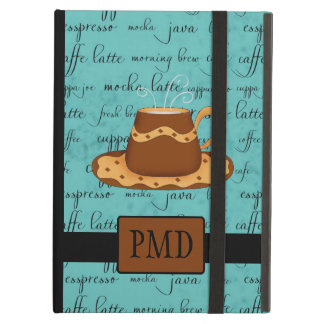 Brown Gold Coffee Cup on Turquoise Script Monogram iPad Air Case
