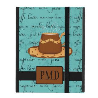 Brown Gold Coffee Cup on Turquoise Script Monogram iPad Folio Case