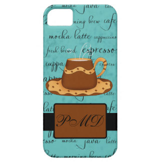 Brown Gold Coffee Cup Turquoise Script Monogram iPhone SE/5/5s Case