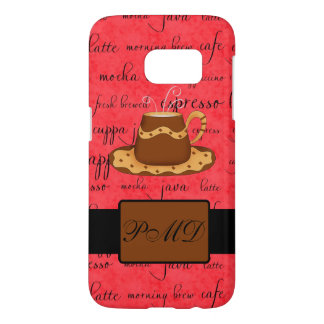 Brown Gold Coffee Cup Word Art Red Monogram Samsung Galaxy S7 Case