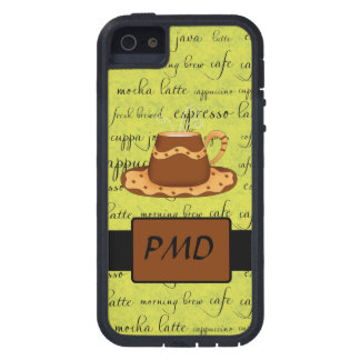 Brown Gold Coffee on Lime Green Script Monogram Case For iPhone SE/5/5s