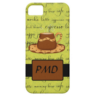 Brown Gold Coffee on Lime Green Script Monogram iPhone SE/5/5s Case
