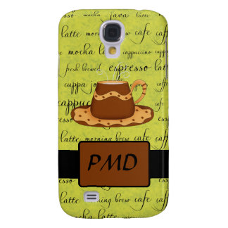 Brown Gold Coffee on Lime Green Script Monogram Samsung Galaxy S4 Cover