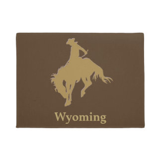 Brown Gold Cowboy Bucking Horse Doormat