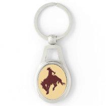 Brown Gold Cowboy Bucking Horse Keychain