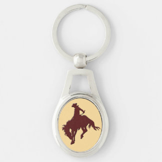 Brown Gold Cowboy Bucking Horse Silver-Colored Oval Metal Keychain