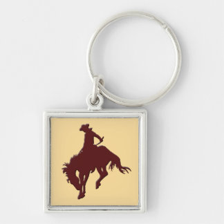 Brown Gold Cowboy Bucking Horse Silver-Colored Square Keychain
