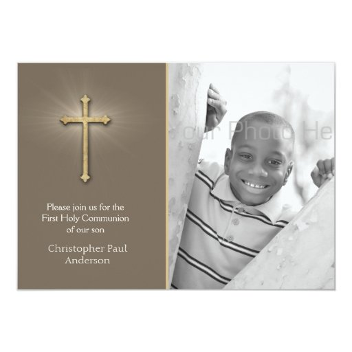 Brown, Gold Cross, Religious Photo Card