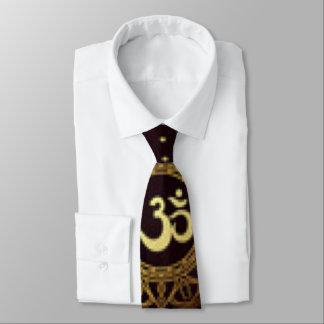 Brown Gold Crown Chakra Pattern Print Design Neck Tie