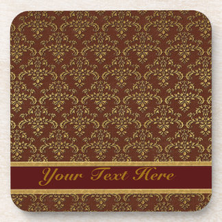 Brown & Gold Damask Pattern Drink Coaster