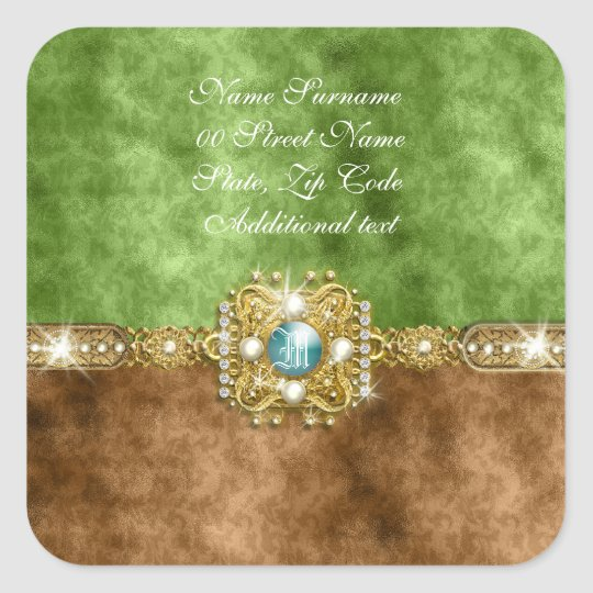 Brown gold damask wedding gems square sticker