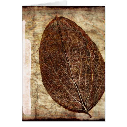 Brown Gold Fall Leaves Card