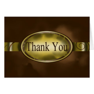 Brown & Gold Floral Button Thank You Card