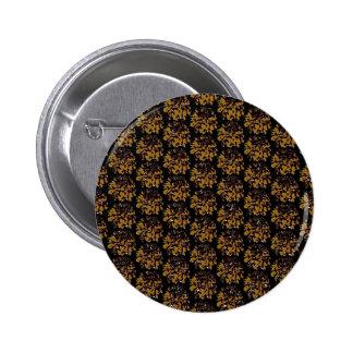 Brown Gold  Floral Dahlia Flower Pattern Pinback Buttons