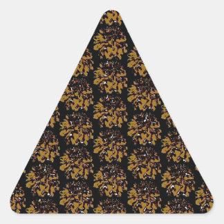 Brown Gold  Floral Dahlia Flower Pattern Triangle Sticker
