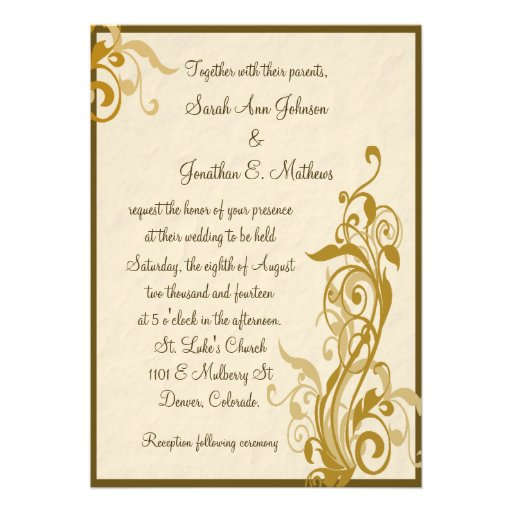 Brown Gold Floral Parchment Wedding Invitation 5 X 7 Invitation Card