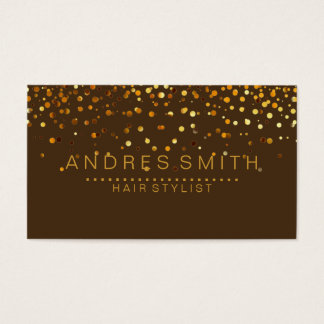 Brown Gold Glitter Hair Stylist Business Card