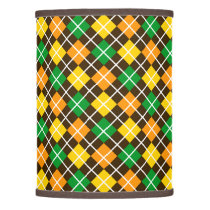 Brown Gold Green and Orange Argyle Lamp Shade