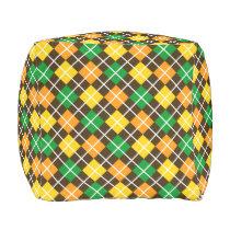 Brown Gold Green and Orange Argyle Outdoor Pouf