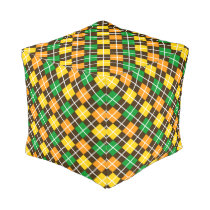 Brown Gold Green and Orange Argyle Pouf