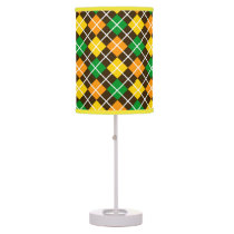 Brown Gold Green and Orange Argyle Shaded Lamp