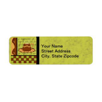 Brown Gold Green Checkerboard Coffee Cup Art Label