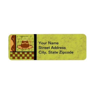 Coffee Themed Brown Gold Green Checkerboard Coffee Cup Art Label
