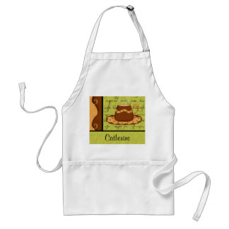 Brown Gold Green Checkerboard Coffee Cup Art Name Adult Apron