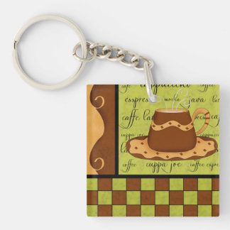 Brown Gold Green Checkerboard Coffee Cup Art Name Keychain
