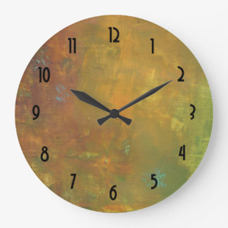 Brown Gold Green Earthy Abstract Design Large Clock