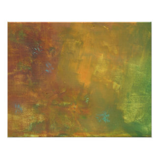 Brown Gold Green Earthy Abstract Design Poster
