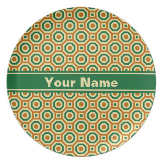 Brown/Gold/Green Nested Octagons Melamine Plate