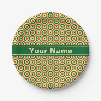 Brown/Gold/Green Nested Octagons Paper Plate 7 Inch Paper Plate