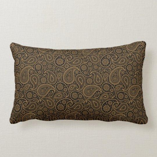 Brown & Gold Paisley on black Background Lumbar Pillow