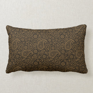 Brown & Gold Paisley on black Background Pillow