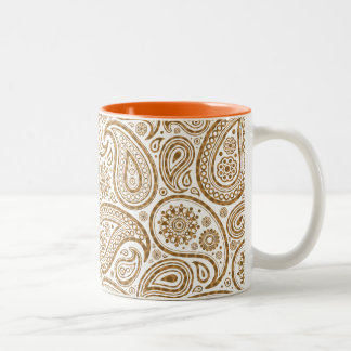 Brown & Gold Paisley on white Background Coffee Mugs