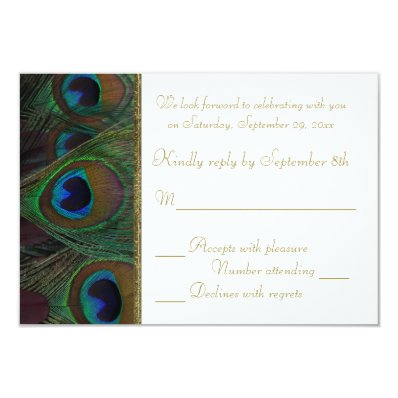 Brown, Gold Peacock Feathers RSVP Card