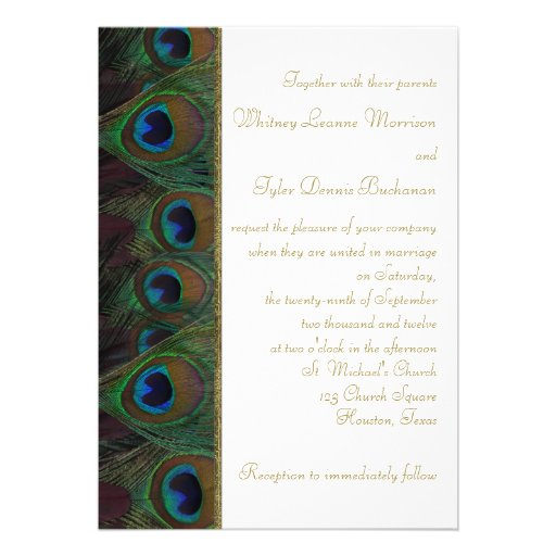 Brown, Gold Peacock Feathers Wedding Invitation