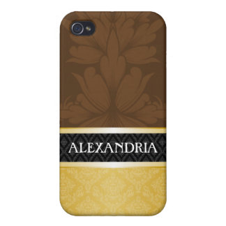 Brown & Gold Personalized Damask iPhone 4 Case
