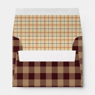 Brown & Gold Plaids and Checks Envelope
