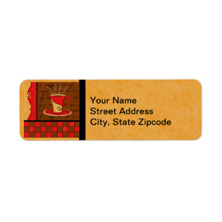 Brown Gold Red Checkerboard Coffee Cup Art Return Address Label
