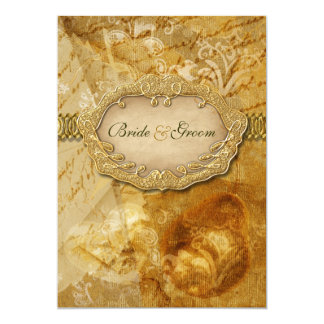 Brown gold vintage victorian weding invitations