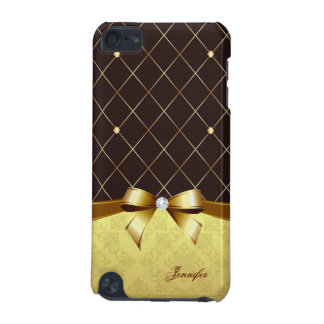 Brown Golden Ribbon Damask Diamond and Custom Name iPod Touch (5th Generation) Case