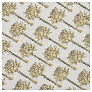 Brown golden yellow artichoke watercolor fabric
