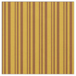 [ Thumbnail: Brown & Goldenrod Colored Lines/Stripes Pattern Fabric ]